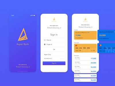 Axper Bank app dashboad axper android app ios bank iphonex