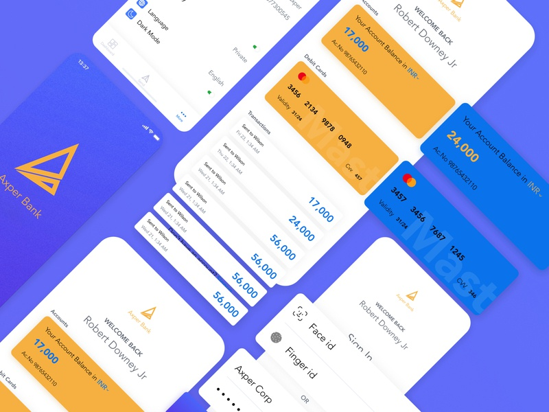 Axper Bank app branding ux iphone x android application ios