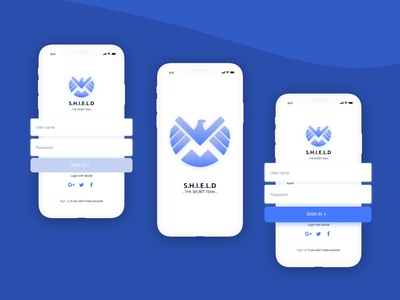 SHIELD APP ironman avengers app ux typography clean logo branding minimal illustration design