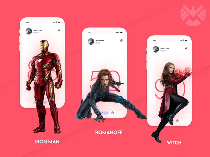 SHIELD APP for avengers animation avengers typography ux app ui clean flat branding minimal illustration design
