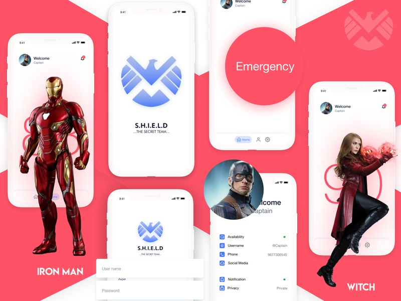 SHIELD APP ios sketch figma 11 iphonex android app design mobile app mobile animated gif avenger flat vector illustration ux ui clean logo branding minimal design