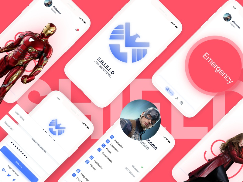 SHIELD ux ui android app design iso iphone app