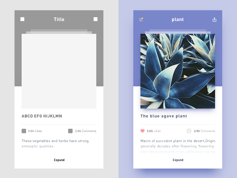 photo-sharing app prototype ui app plants