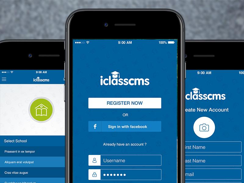 I Class login screens school class logo mobile apps