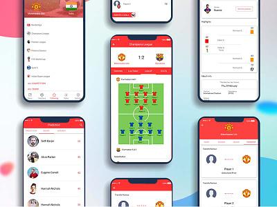Sports app stats halftime. presentations predictions goals. fav players fav teams fifa