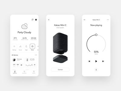 Smart home app concept speaker light ui ux simple elegant minimal clean smarthome