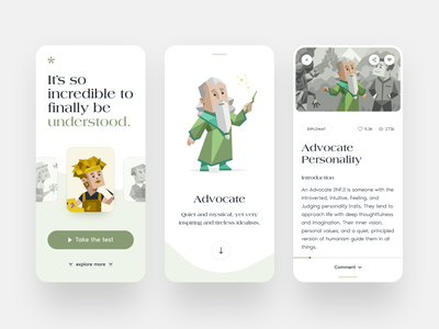 Personality mobile app concept character illustration polite type personality app mobile design clear ui ux simple clean elegant minimal