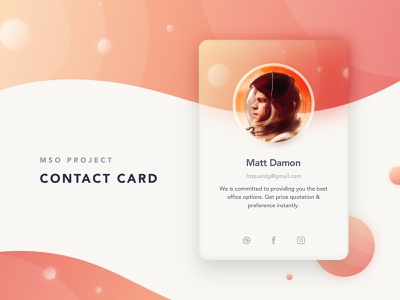 035/100 Daily UI: Contact Card card contact social daily 100 uidesign clear clean dribbble sketch simple elegant ui ux minimal