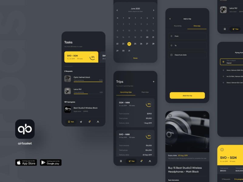 Airbasket App - Dark Mode mobile dark app dark clean simple ui ux elegant minimal