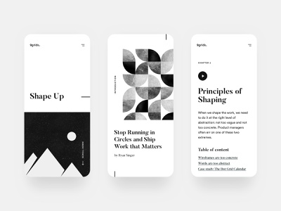 Shape Up. product design mobile app white clear clean simple ui ux elegant minimal