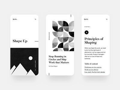 Shape Up. product design mobile app white clear clean simple ui ux elegant minimal