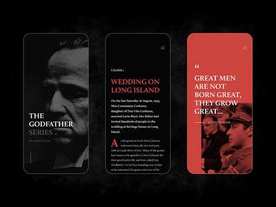 The Godfather Book black dark article blog story news mobile website clear clean simple elegant minimal