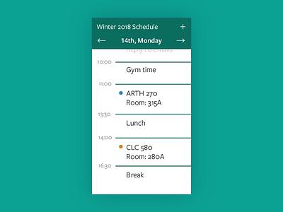 Daily UI #071: Schedule. schedule dailyui