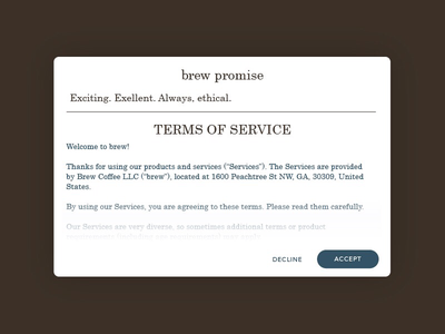 Daily UI #089: Terms of service. terms of service dailyui