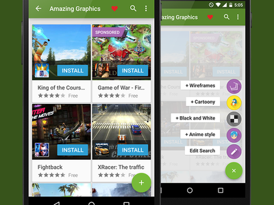 BAM Search Modification FAB android ui ux fab apps material design tablet nexus