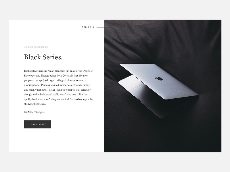 Black Series. website clean design photography photo minimal