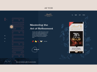 Lindt Comparison web typography shop product e-commerce concept chocolate animation ui after before