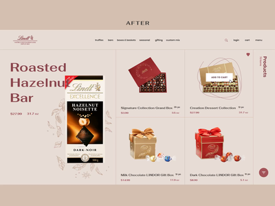 Lindt Product Catalog web ui typography shop product e-commerce chocolate concept animation after before