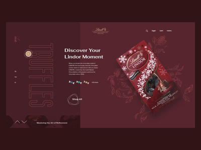 Lindt concept design illustration premium sweets slider homepage e-commerce food store chocolate ui design layout animation concept typography