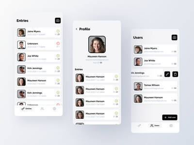Codaface ✅❌🔑📸- admin panel grey admin panel admin mobile ui ux android ai face recognition scanning camera photography modern identity creative clean business face ios app ios