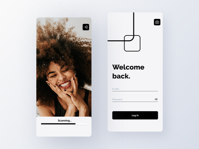 Codaface ✅❌🔑📸 - face recognition log in scanning minimalism vectors grey blackandwhite artificial intelligence ai face recognition scanner cameras photography modern identity clean business face application android ios