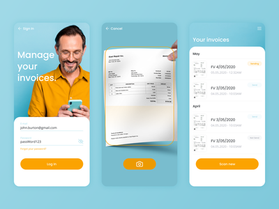 OCR Invoices Manager yellow blue uidesign recipt invoices business ios app mobile artificial intelligence ai ux ui ocr