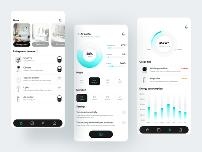 Eco-Smart Home 🏠 ux usage ui tab bar switch smart home smarthome savings rooms pie chart mobile environment energy eco friendly iot eco design bar graph app air purifier