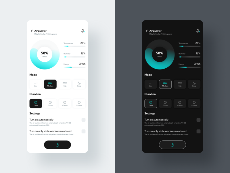 Smart Home - Light & Dark mode 🌗 iot bar chart graph light mode dark mode mode usage energy savings ecology eco smarthome smart home air purifier mobile app ux design ui