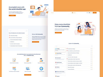 Listables Redesign - Homepage & Community webdesign website landing page homepage cta icons like list community checklists checklist tiles animations figma react illustration ux design ui