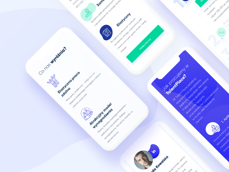 Talent Place - mobile green blue icons ux-ui uidesign ux-design dashboard design mobile