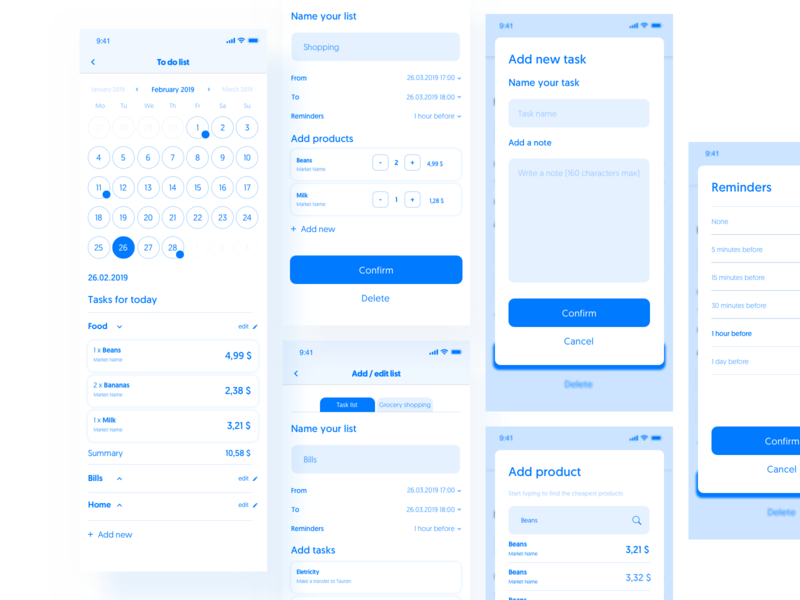 To Do List - wireflow design user experience user ux note shopping list to do list sketch flow wireflow ui