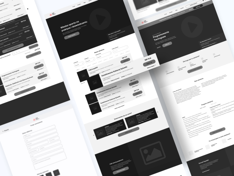 Centrum Szkoleń Sportowych - Wireframes training event shop list sketch wireframe design ui wireflow wireframes ux