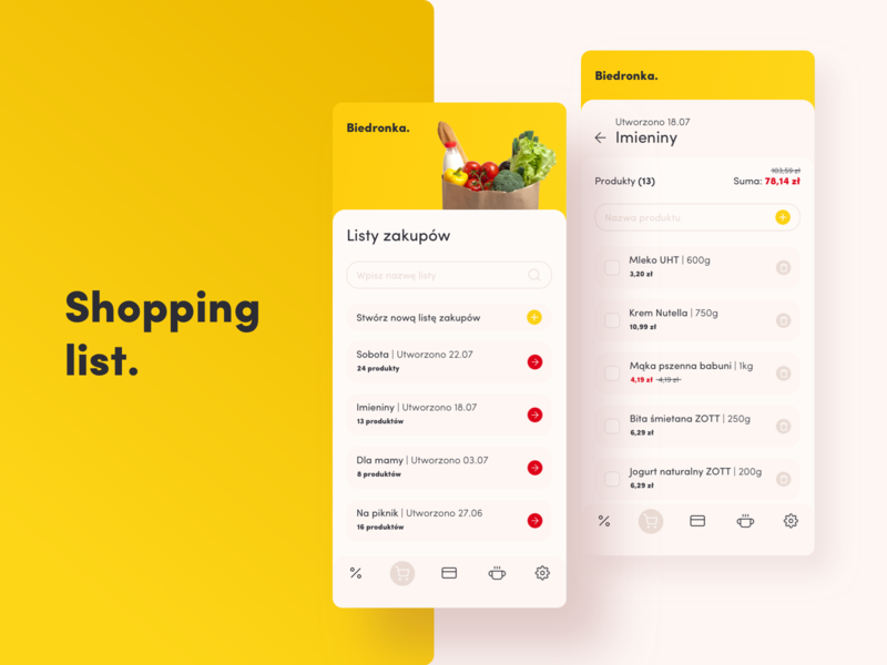 Shopping list biedronka concept redesign concept redesign mobile design mobile ui add price list shopping list shopping mobile design ui