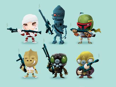 THE BOUNTY HUNTERS!!! star wars bounty hunters dengar ig-88 boba fett bossk 4-lom zuckuss illustration design