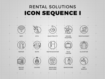Rental Solutions - Icon Set television wardrobe tap microwave elevator sofa water restaurant house keeping dth wifi