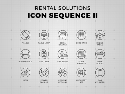 Rental Solutions - Icon Set crockery cooking iron mattress gas round bed lamp table pillow