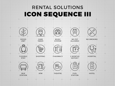 Rental Solutions - Icon Set icon set hotel fuel theatre atm bus hospital deposit pharmacy shopping pet music system