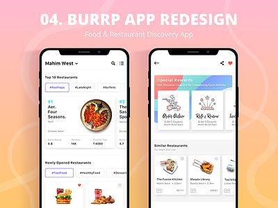Burrp App - Find Restaurants & Food Near You ios 11 burrp food ui food-order food-app redesign restaurant app