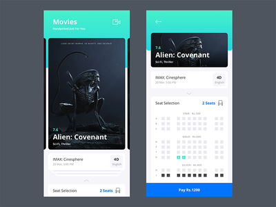 One Step Movie Booking ui app prototype showtime seats selection booking movie ios11