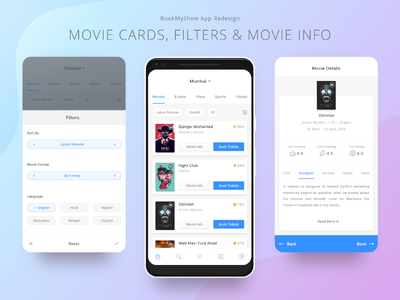 03. BookMyShow App Redesign material design redesign interaction ui app prototype showtime seats selection booking movie