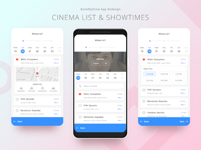 04. BookMyShow App Redesign ios movie booking seats selection showtime prototype app ui interaction redesign material design