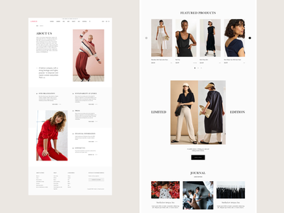 Lindex - About Us & Homepage Concept web shopify interface product fashion ux ui e-commerce design clean