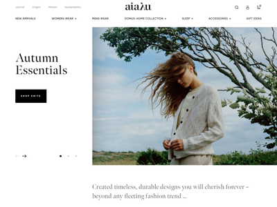 Aiayu - Homepage Concept interface clothing fashion product shopify clean homepage ux ui web e-commerce