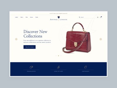 Aspinal of London - Homepage Concept product interface web ux homepage ui design e-commerce clean luxury