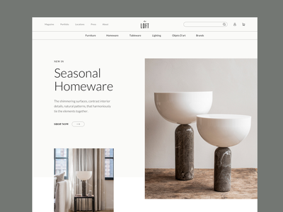 The Loft - Homepage Concept interior shopify interface product homepage ui ux design web e-commerce clean