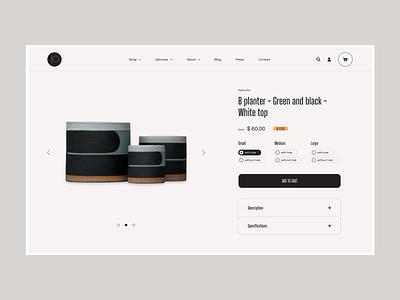 Pawena Studio - Product Page Concept planter flowerpot interior product ceramic homepage ux ui design e-commerce clean