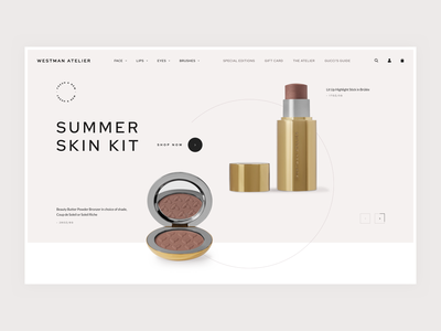 Westman Atelier - Homepage Concept clean e-commerce homepage skin skincare makeup face lips eyes brushes summer beauty fresh new shades product shopify design