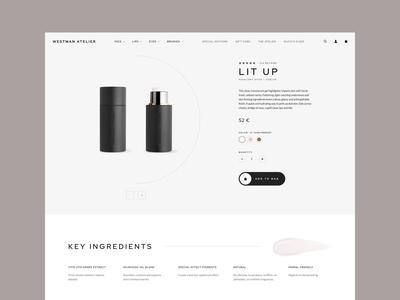 Westman Atelier - Product Page Concept quality style shopifyplus shopify skincare makeup skin product ux ui design e-commerce clean