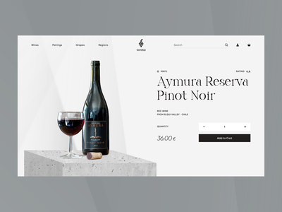Vivino - Product Page Concept light shopifyplus shopify minimal contrast style luxury drinks drink wine product design ux ui e-commerce clean