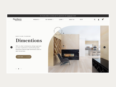 Northern Wide Plank Design floor style interior product curvy wood homepage web ux ui design e-commerce clean